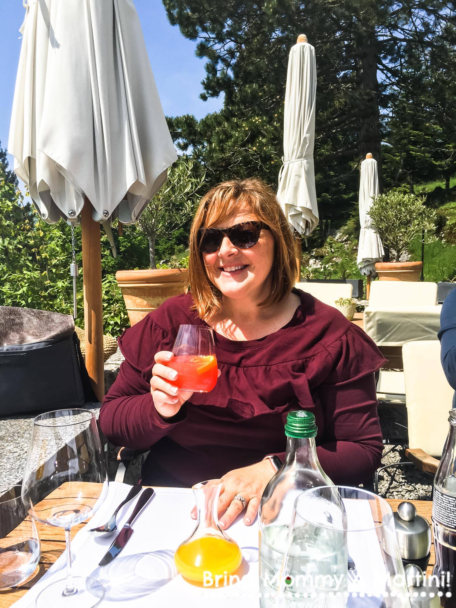 Having a campari and orange juice with my lunch.