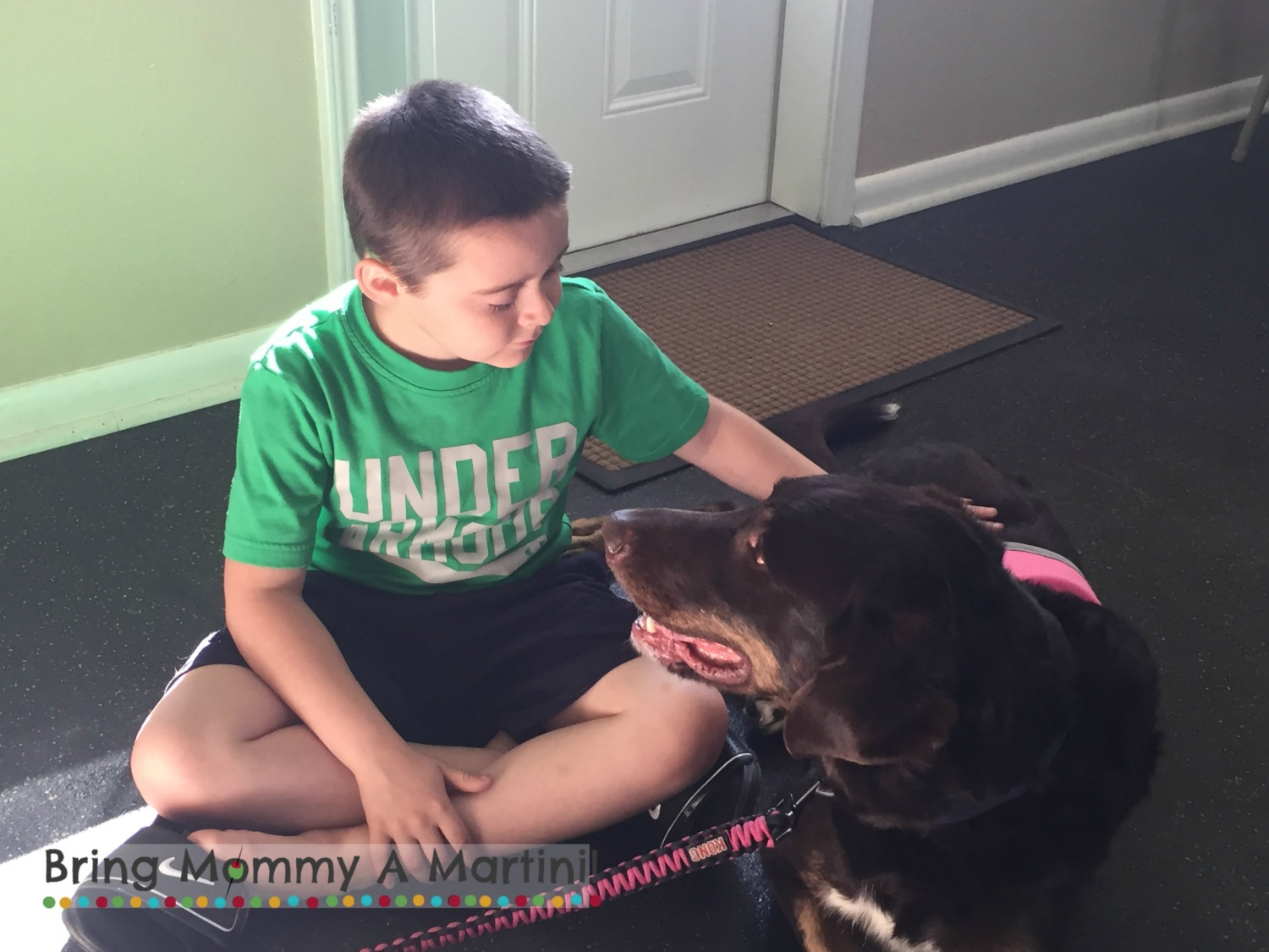 The 10-year-old and  Lilly The Therapy Dog  at  The Dog Alliance