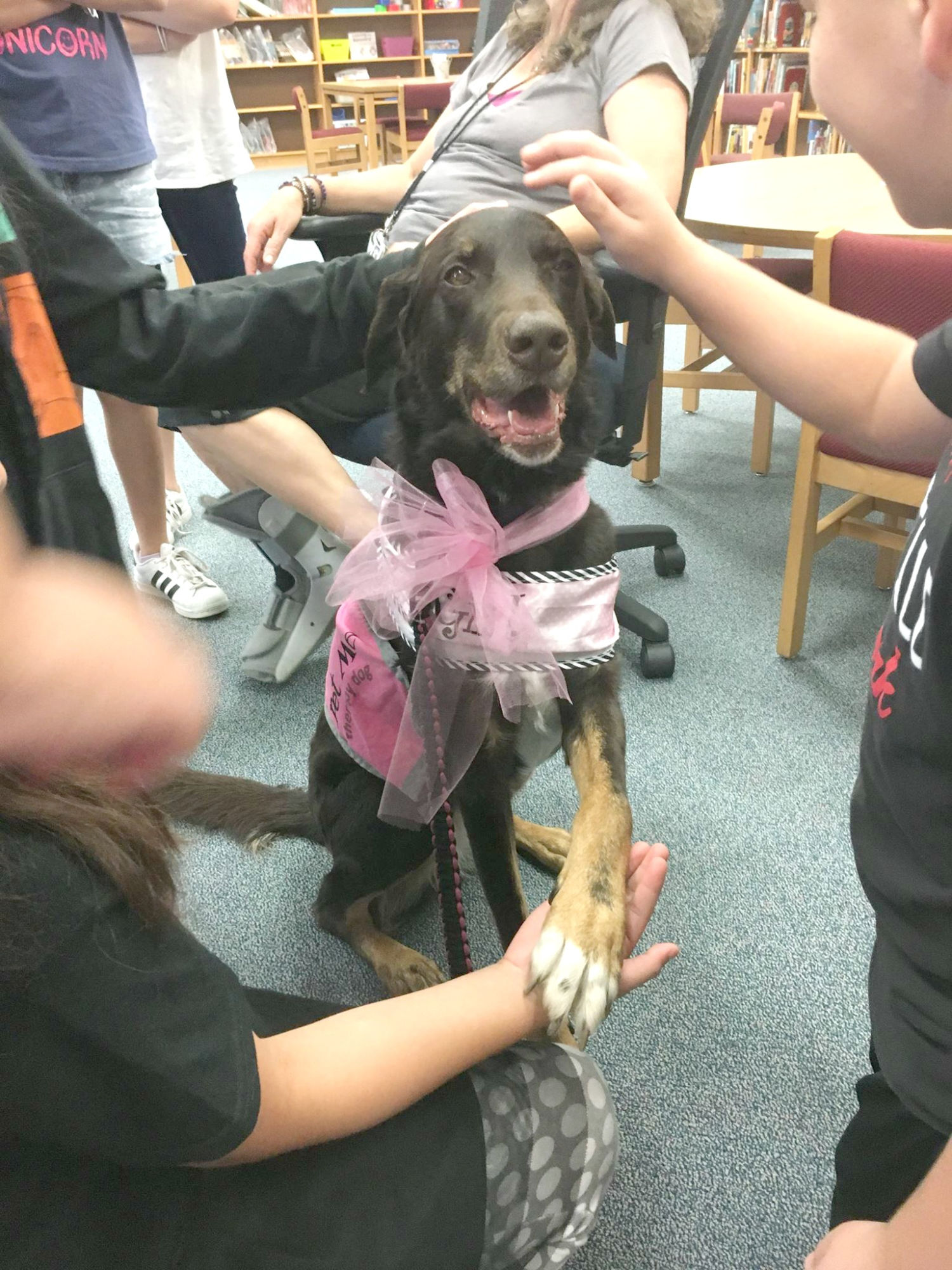 Lilly celebrating her birthday with the kids at Block House Creek Elementary School