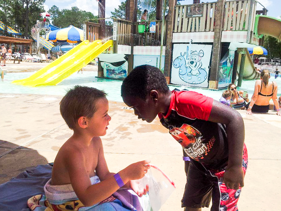 Cody made a friend, who apparently had something to say! This part of the water park is especially for younger kids.