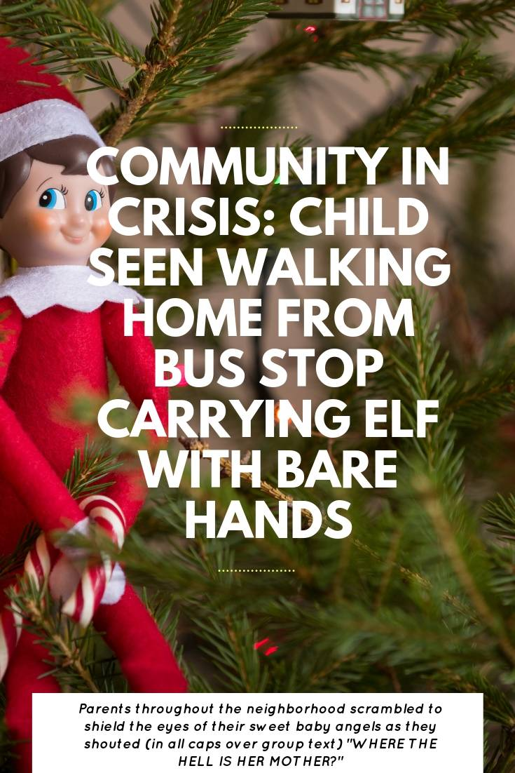 Community In Crisis Over Child Seen Carrying Elf With Bare Hands | Bring Mommy A Martini
