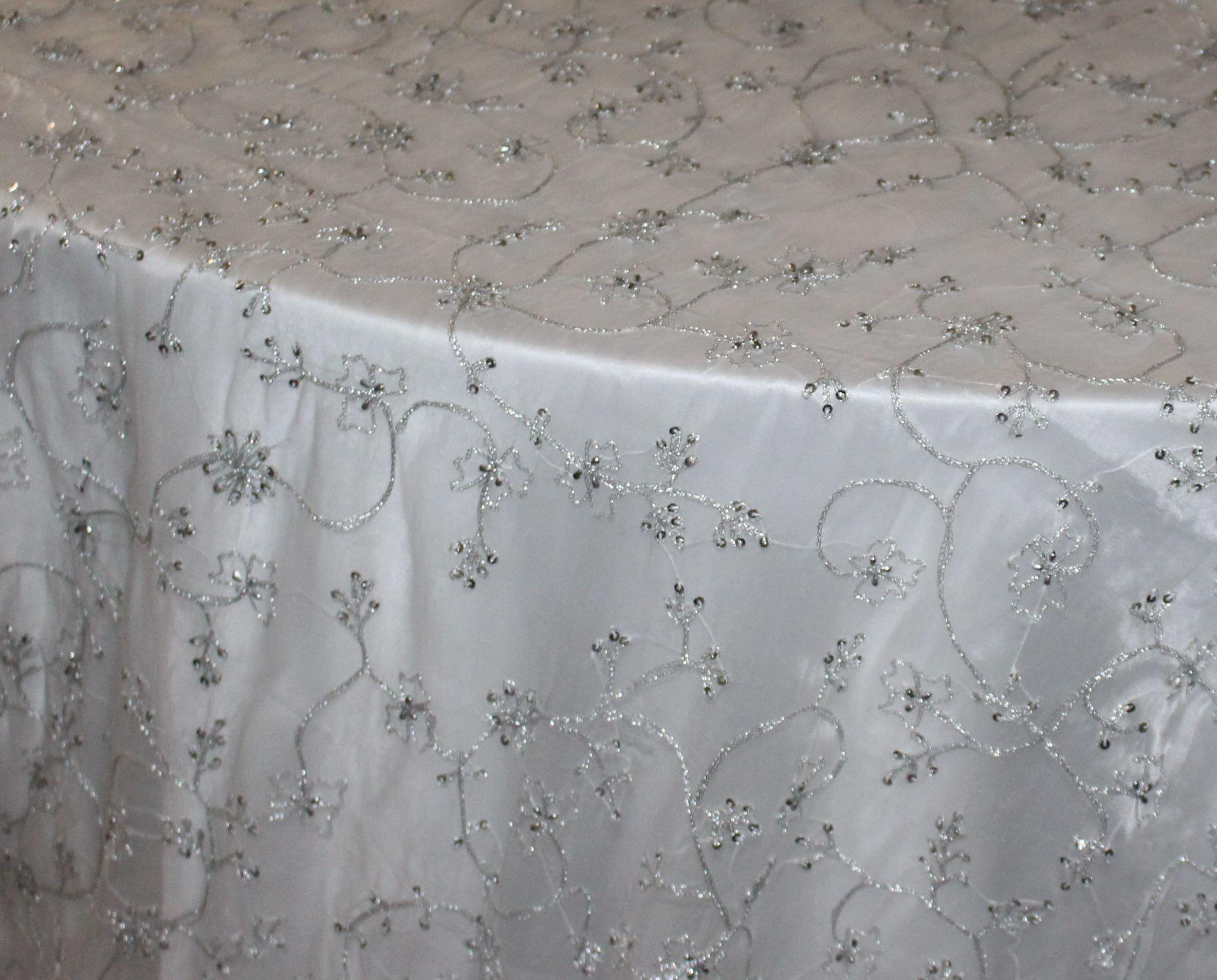 White/Silver Sheer Beaded Pierre Overlay