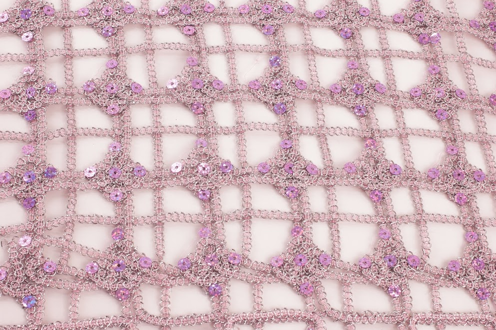 Light Pink Sequin Squares Overlay