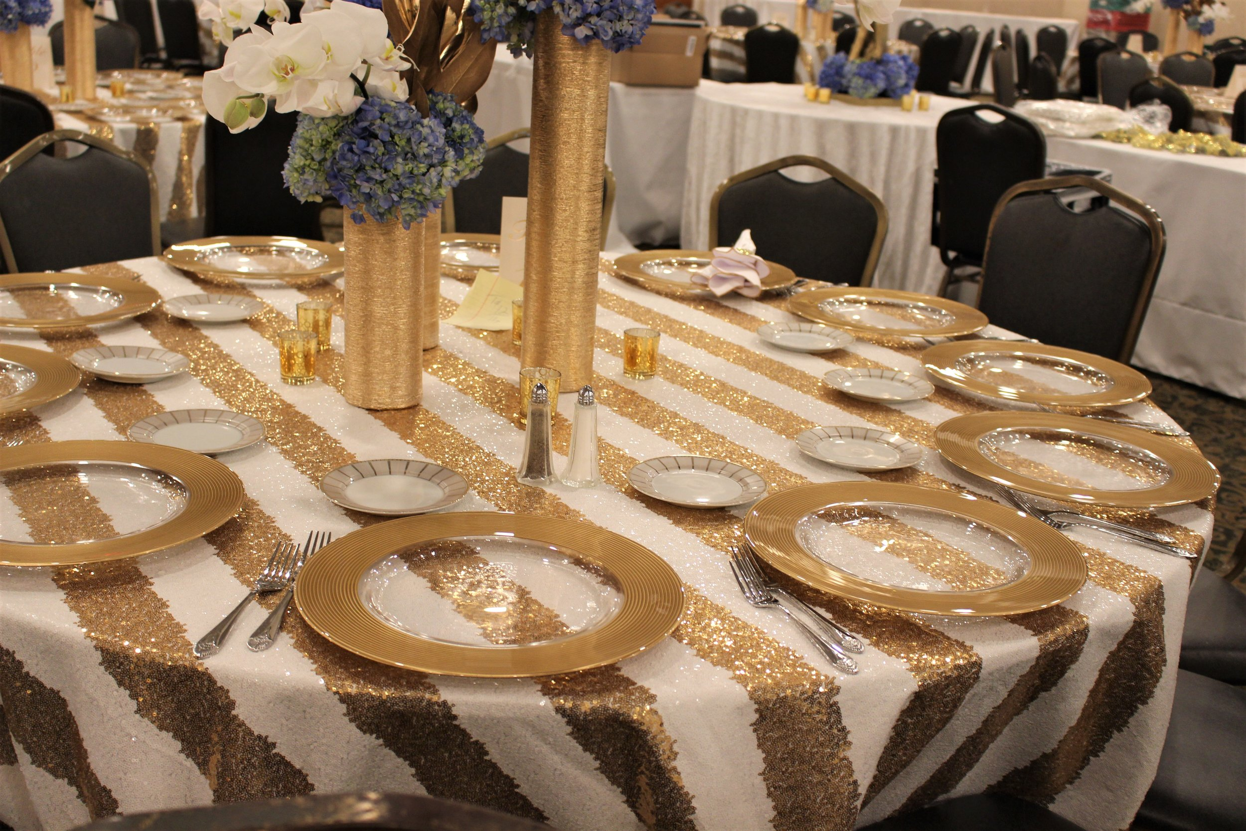 White and Gold Sequin Stripe
