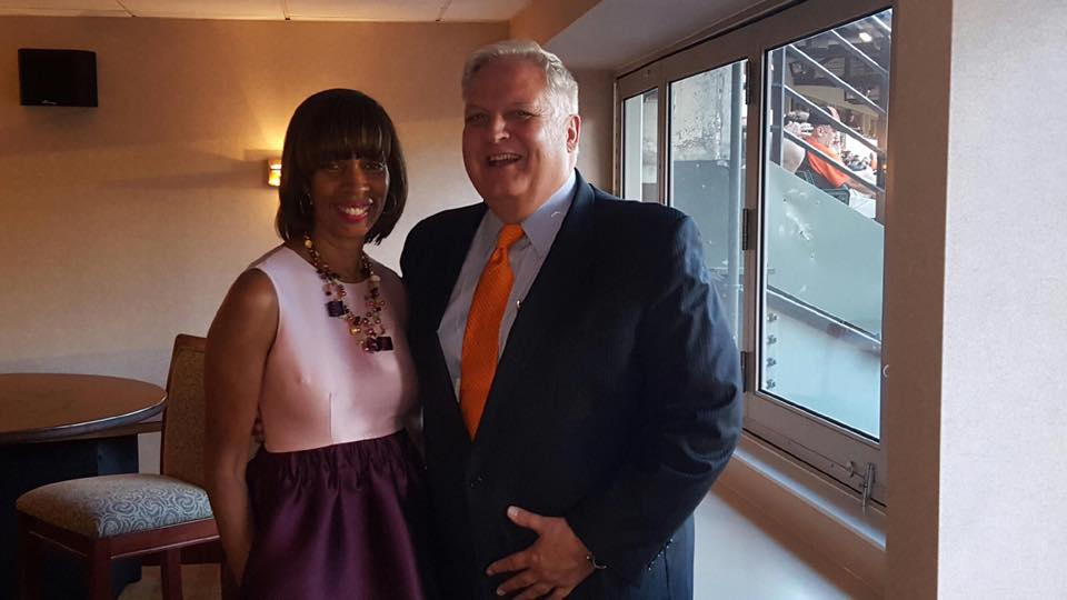 At the Orioles game with Baltimore City Democratic Mayoral Nominee Catherine Pugh