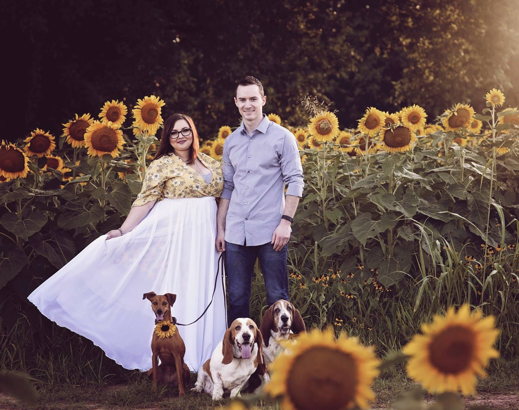 Me, my husband, and our three dogs: Molly, Flash, and Maggie. Photo by Kristina Banks Photography