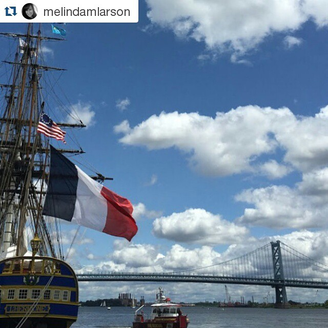 """Adieu #Philly. Next stop: #NYC! @melindamlarson ・・・ June 28, 2015 {179/365} L'Hermione - Tall Ships Philadelphia """"If my ship sails from sight, it doesn't mean my journey ends; it simply means the river bends."""" ~ Enoch Powell (C'est ma vie!: Tall Ships) #french #francophile #hermione #tallship #Philadelphia"""