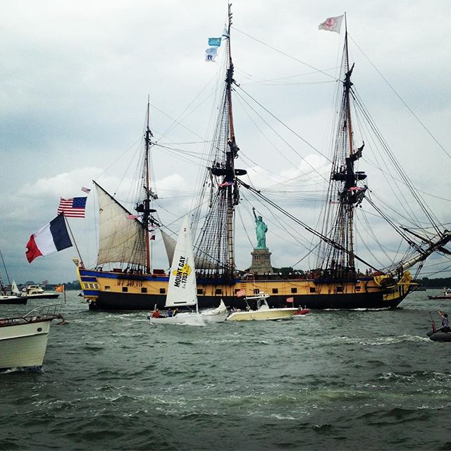 The Statue of Liberty, seen through the #Hermione in the Parade of Ships! #4thofjuly #boatparade #hermione2015 #ladylibery