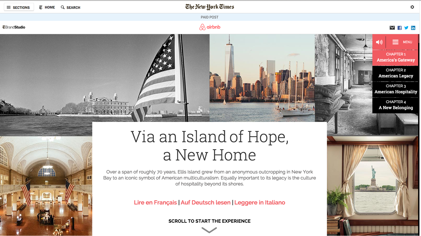 Air BNB on The New York Times: Content Feature—An interactive history of immigration.   Link