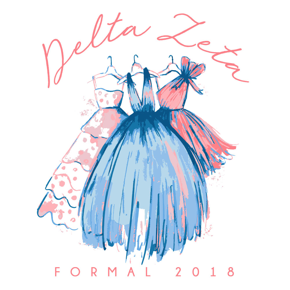 Three Dresses. Alyssa Moore. T-Shirt Design. Apparel Graphic Design for The Neon South. Adobe Illustrator. Typography. Illustration. Vector illustration.
