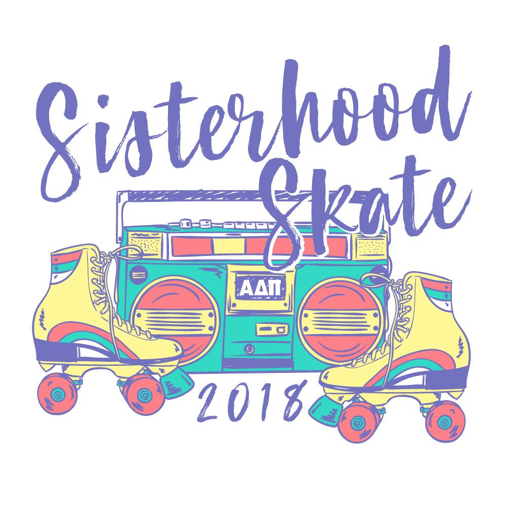 Sisterhood Skate. Alyssa Moore. T-Shirt Design. Apparel Graphic Design for The Neon South. Adobe Illustrator. Typography. Illustration. Vector illustration.