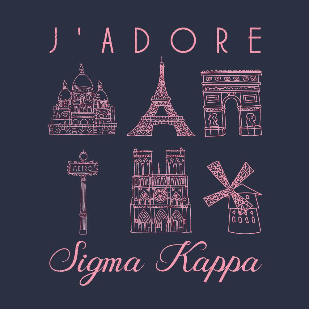 Parisian Landmarks. Alyssa Moore. T-Shirt Design. Apparel Graphic Design for The Neon South. Adobe Illustrator. Typography. Illustration. Vector illustration.