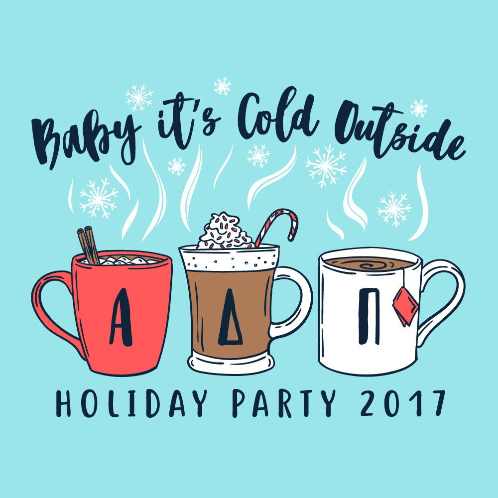 Hot Cocoa Cups. Alyssa Moore. T-Shirt Design. Apparel Graphic Design for The Neon South. Adobe Illustrator. Typography. Illustration. Vector illustration.