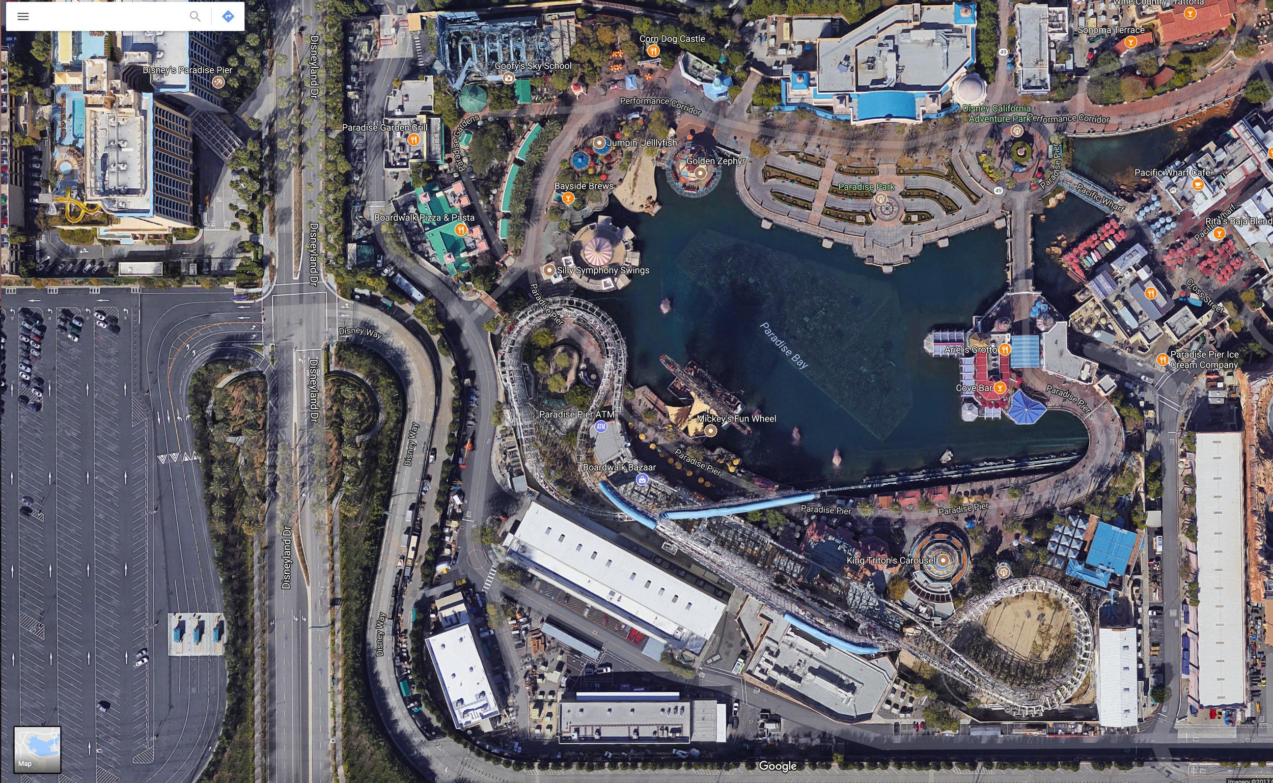 Satellite view of Pixar Pier