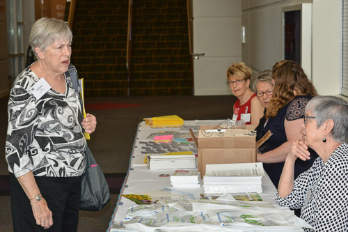 Co-President Kathy Fullin at the registration table.