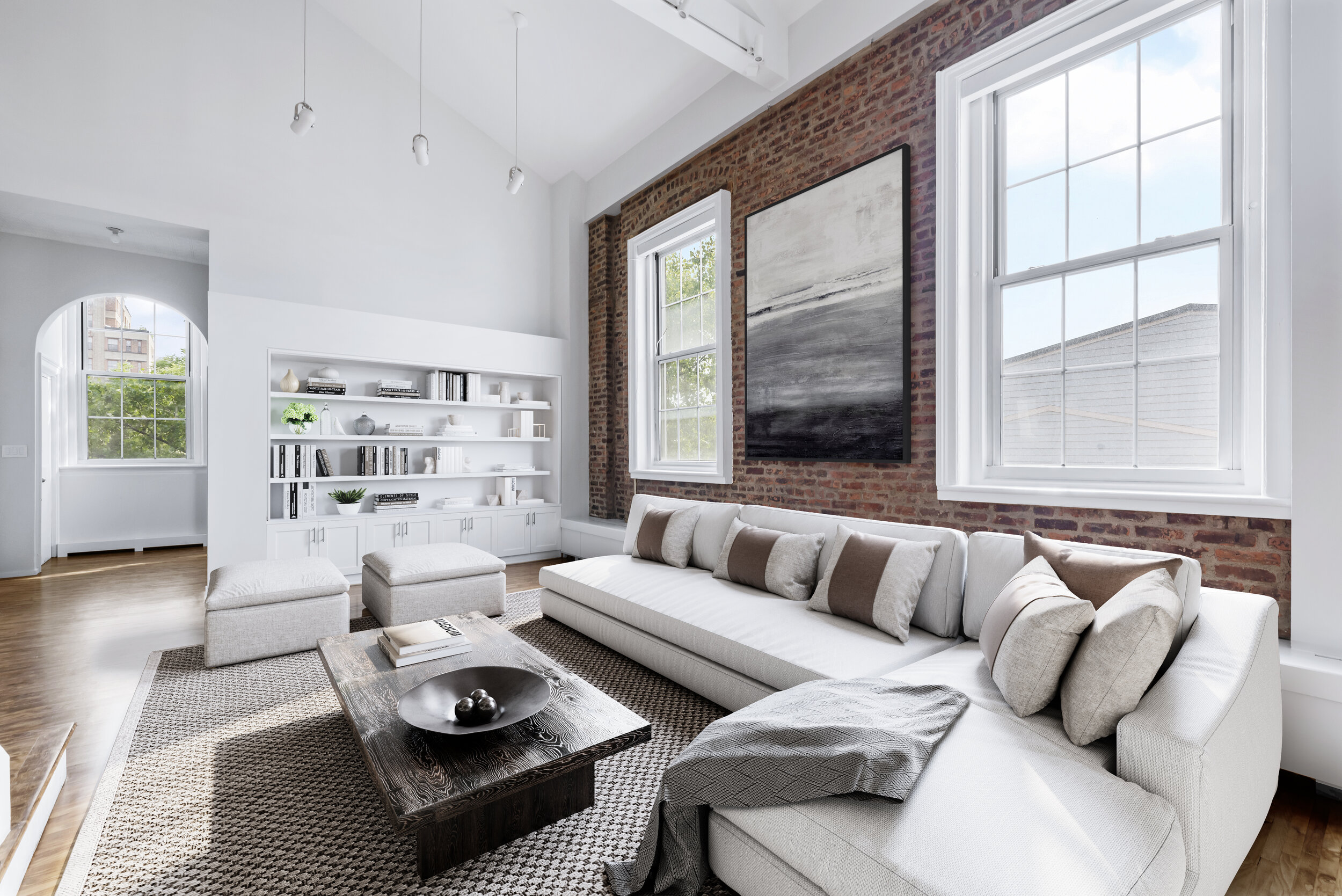 HVAC was installed in order to leave the 7-ft sash windows unobstructed, and custom built-ins were added in the living areas to create additional storage and display space.