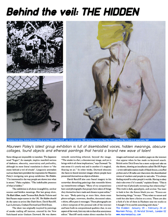 Franscesca Gavin -Dazed and Confused – The Hidden – Maureen Paley – London – 2008