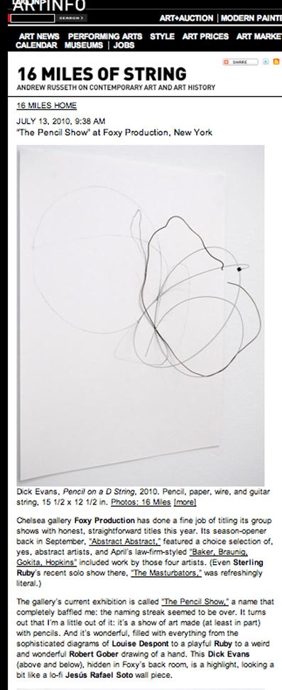 ARTINFO – The Pencil Show – Foxy Production – New York – 2010