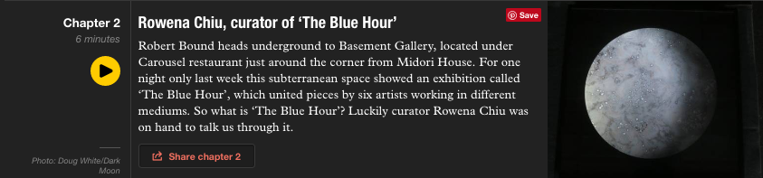 Link to interview on Monacle Radio with Robert Bound, Rowena Chiu and Richard Evans -  http://monocle.com/radio/shows/culture-with-robert-bound/261/rowena-chiu-curator-of-the-blue-hour/