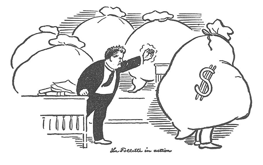 Progressive Wisconsin Senator Robert La Follette attacking the trusts and political corruption.