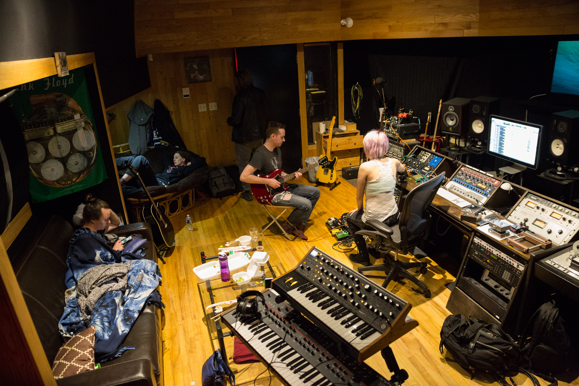 More guitars with REND. Yes... there is lots of space to stretch out and eat sushi and take a nap. Photo by Sean Peacock.