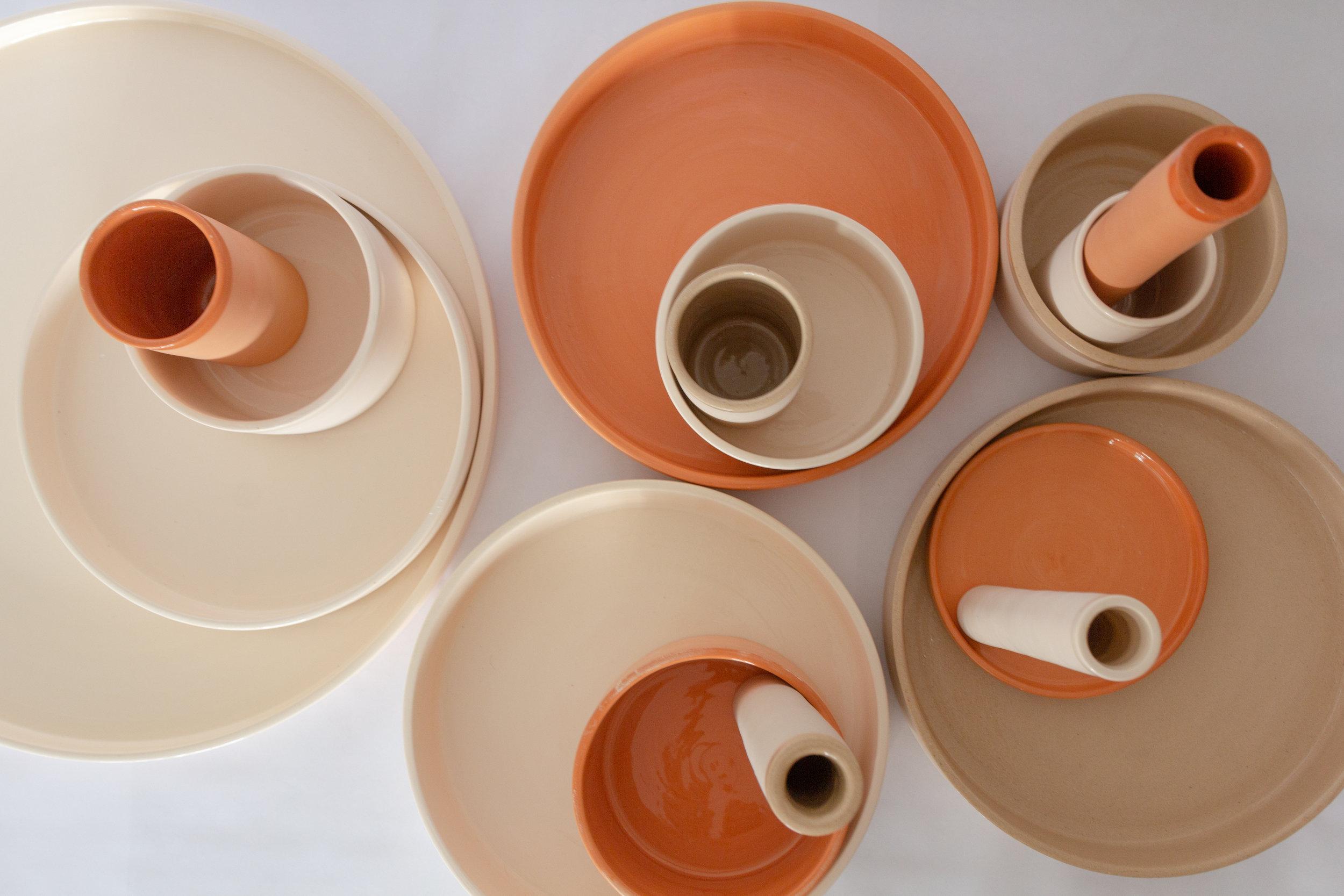 detalhe superior coleção Aterrário - vasos de cerâmica - Aterrario colection superior view - pottery vases