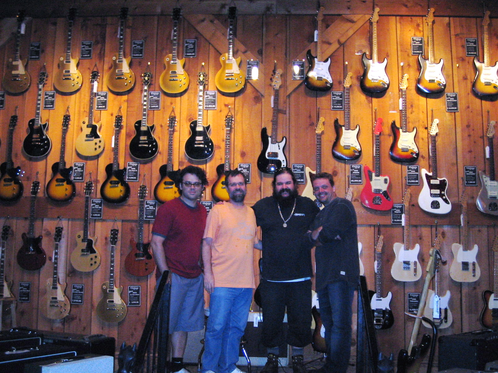Alvaro with Henrique Portugal, Ze Fortes and Tom Capone at guitar paradise