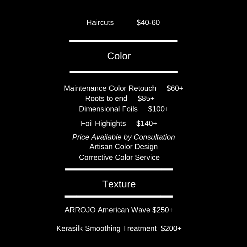 *Prices available by consultation for    bridal work