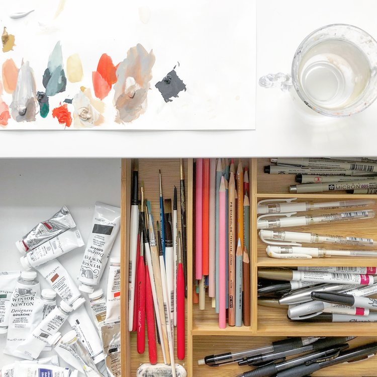 Wood Silverware Organizer   This is perfect for storing all your paint brushes, pens, pencils, markers, and erasers. Since these organizers are flat, you can store them in any drawer.