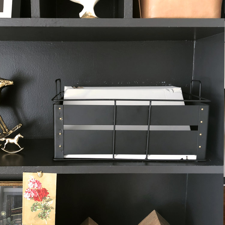 Small Bins   Perfect for storing mailing envelopes and art prints. We like these small enough, so they fit on a shelf.