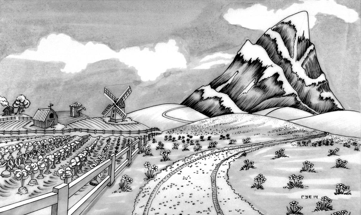 Farmland and Mountain Range Sketch