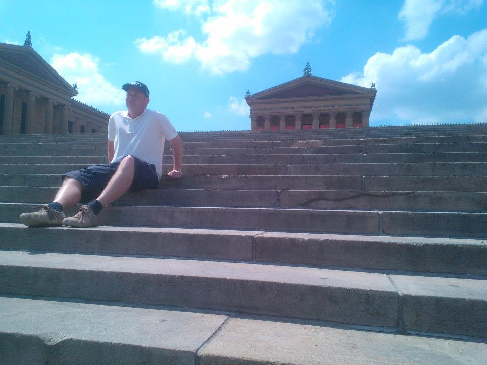 Daniel from Denmark sitting next to a very famous crack in the steps. Do you know why?