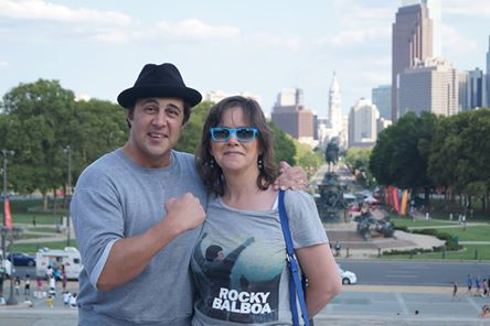 My friend Anne from Belgium at the Rocky steps!