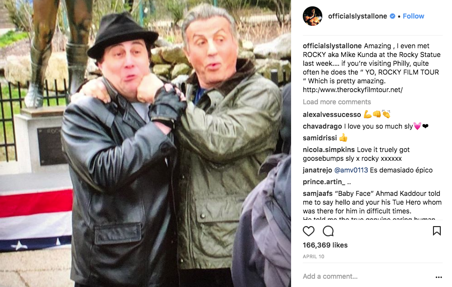 A special shoutout from Rocky - Sylvester Stallone endorses the Yo, Philly! Rocky Film Tour in a special shoutout on his official Instagram.
