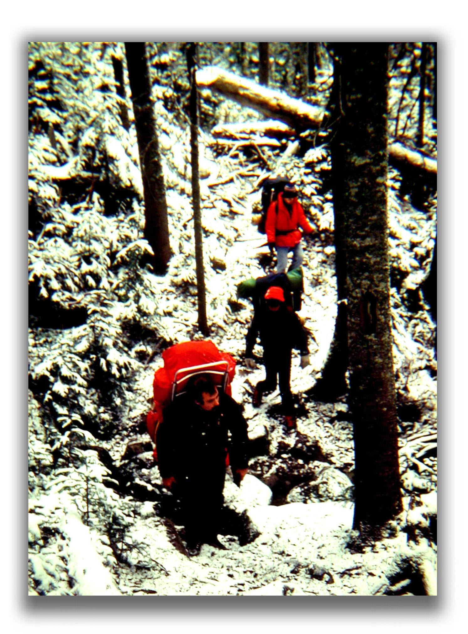 Backtracking,trying to find the trail in the northern Presidential Mountains.