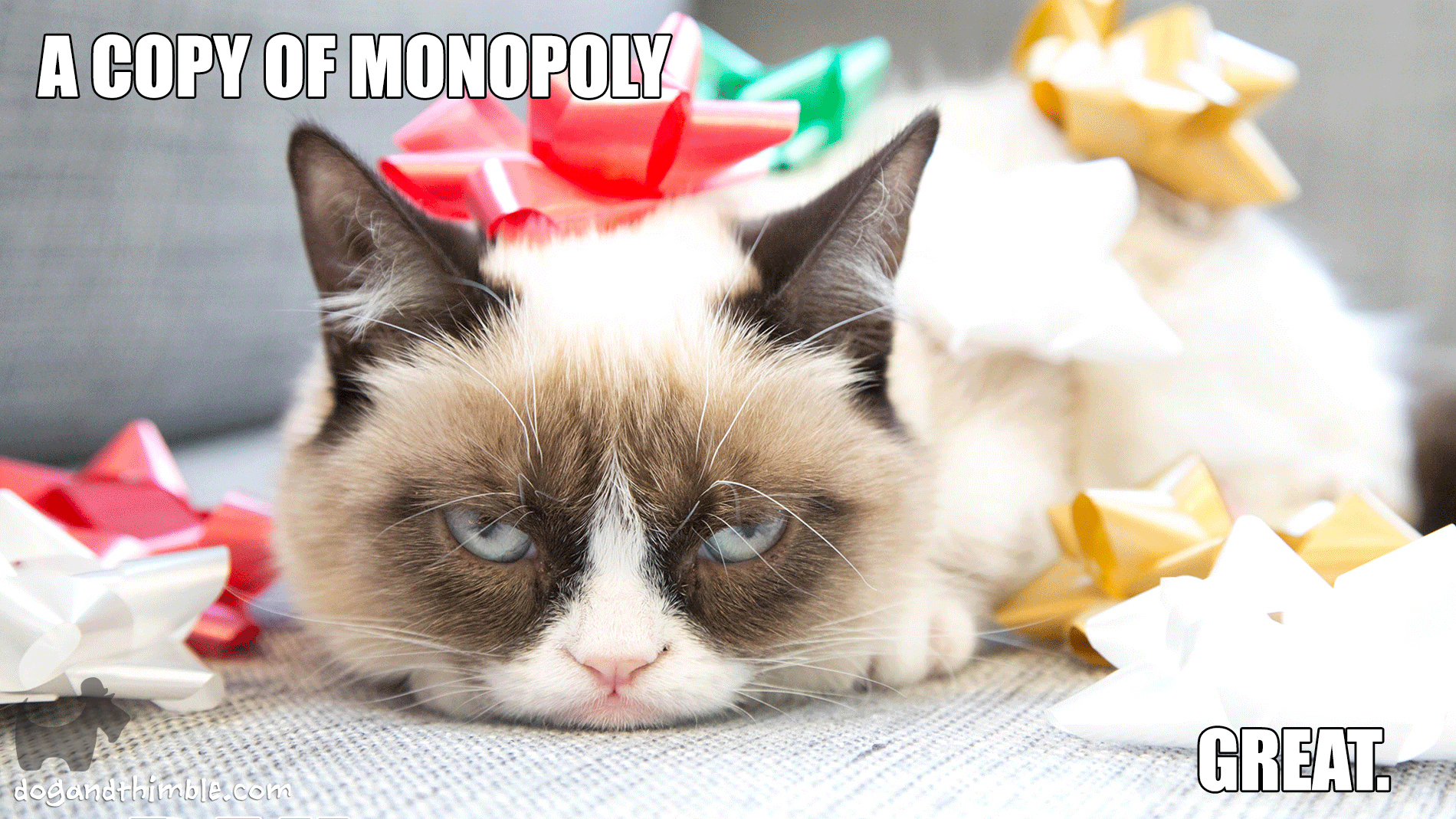 Grumpy Cat hates Monopoly board game meme