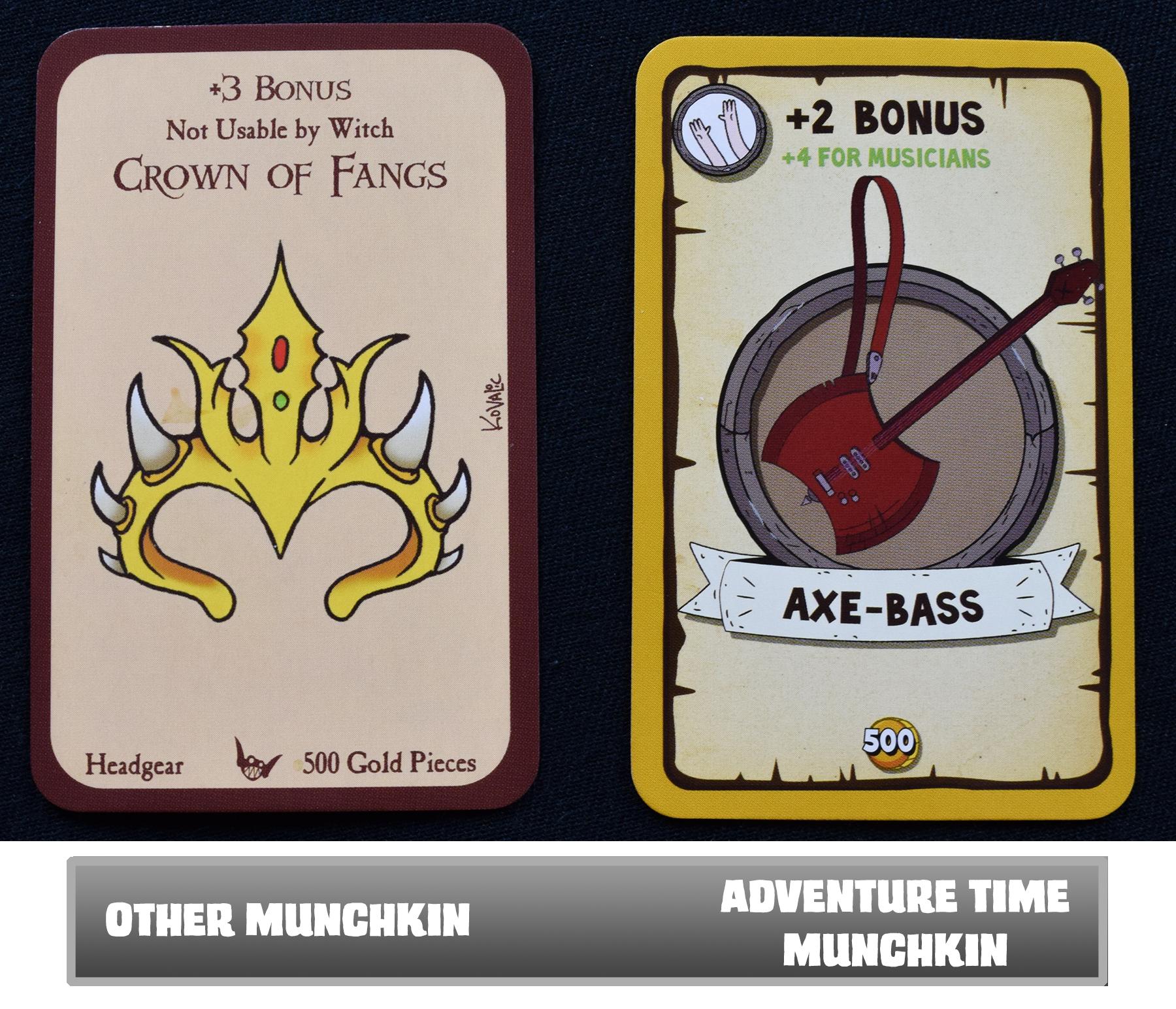 Normal Munchkin cards vs. Adventure Time Munchkin