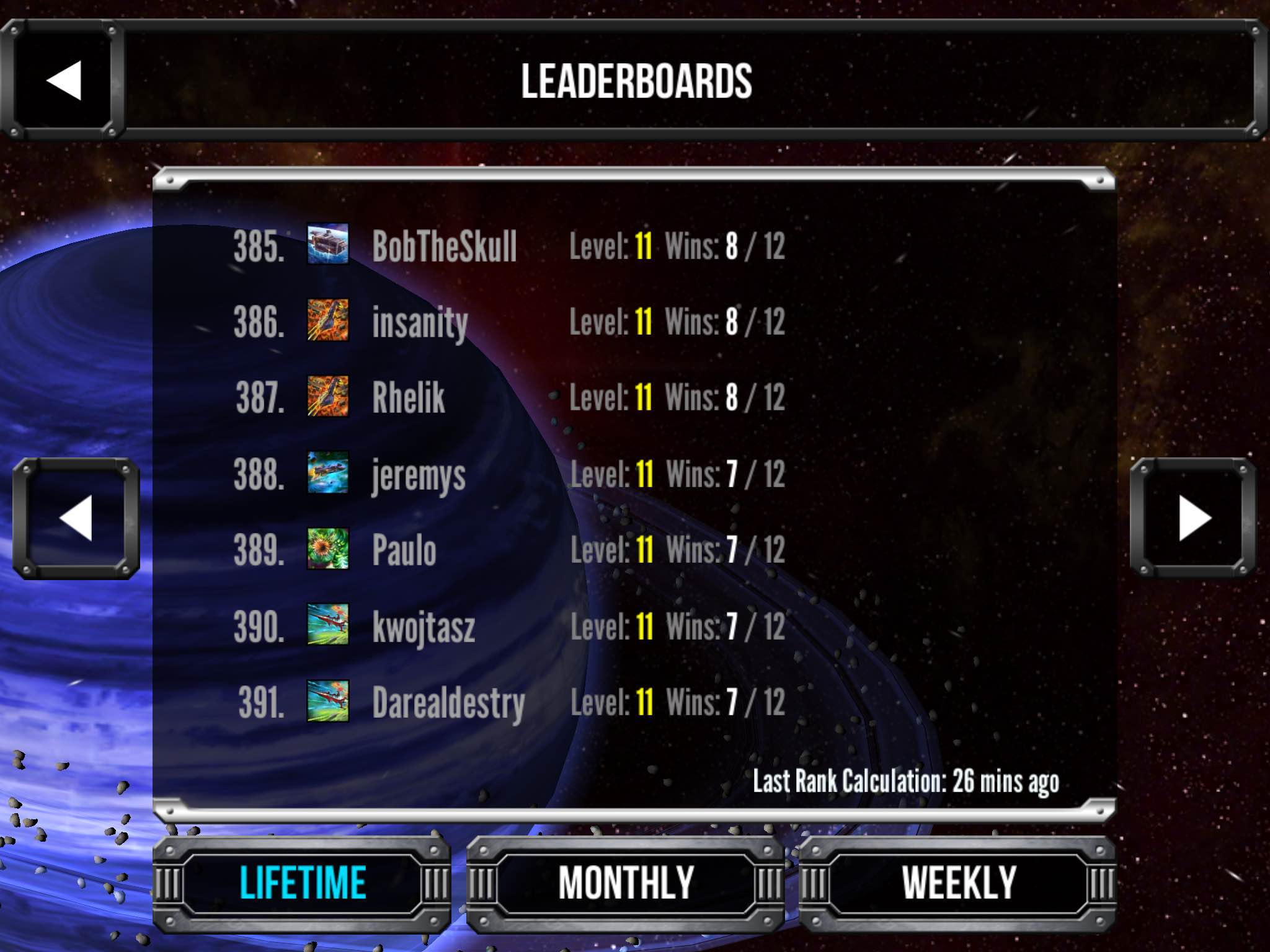 Star Realms Gambit Leaderboards