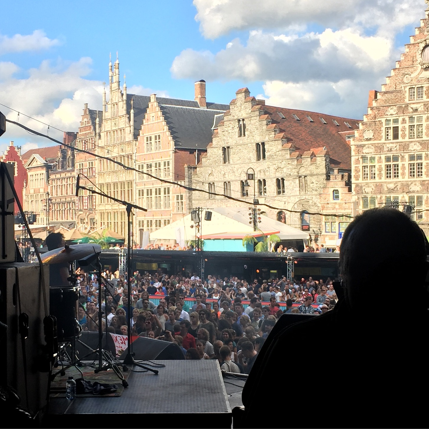 Getting ready to hit the stage at the Pole Pole festival in Ghent, Belgium