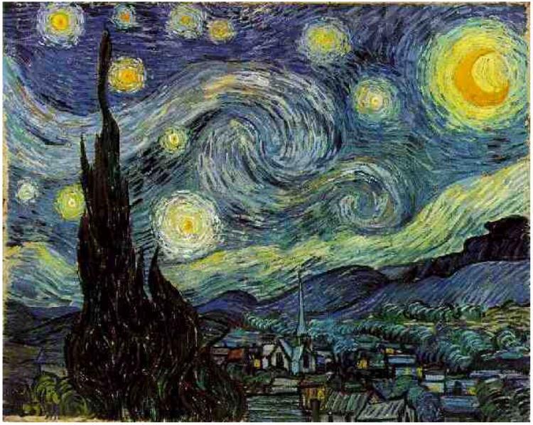 Starry Night (1889) by Vincent van Gogh, (Van Gogh Gallery)