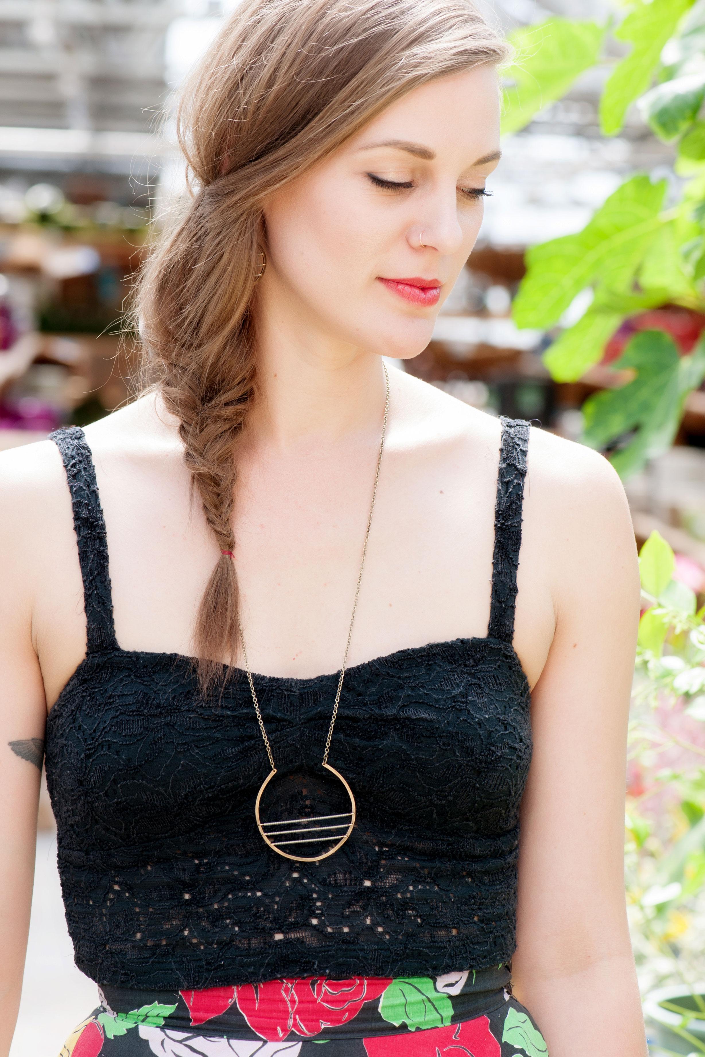 minimalist brass circle w/ tiny grey matte beads   Crow Jane Jewelry