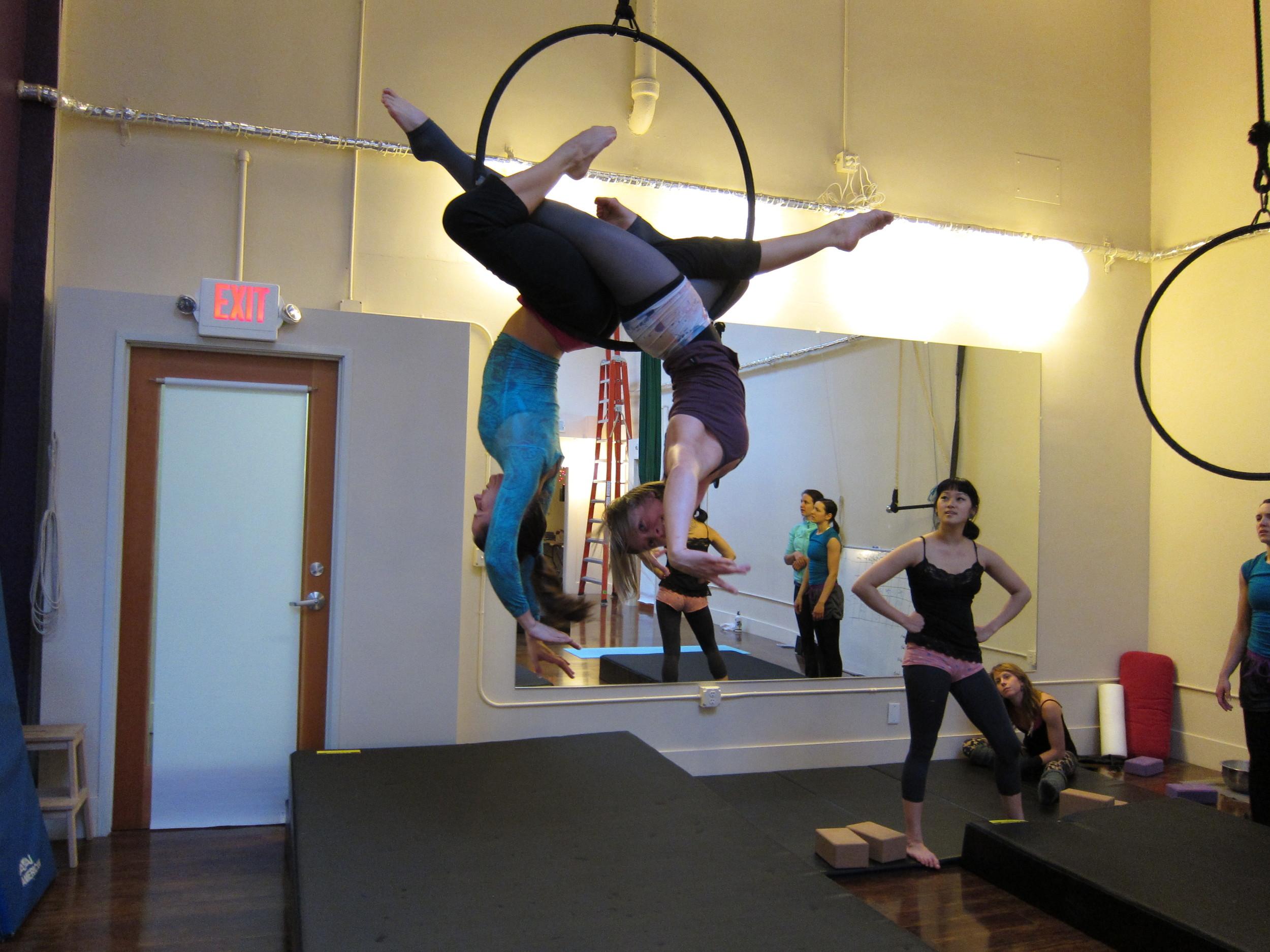 Tamara (l) | Sarah (r) training |  Night Flight Aerial