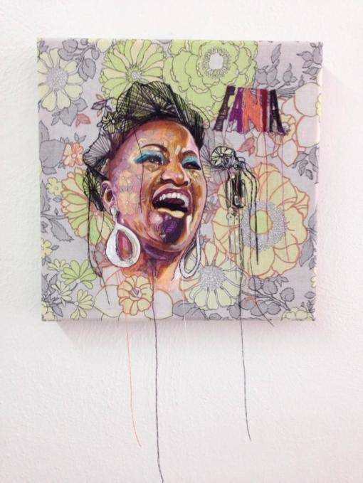 'La Guarachera' 12 x 12, Tela de algodón, acrílico e hilo, 2015. Pieza hecha para la exposición Fanial All-Star II curada pot Tony Rodríguez en la Galería 20/20, en la cual representa a la cantante Celia Cruz, utilizando elementos que la personifican, como los textiles que ella utilizaba en su vestimenta.