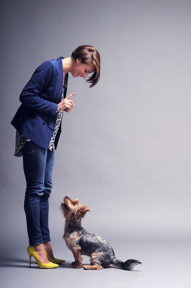 Sara White and her pup, George