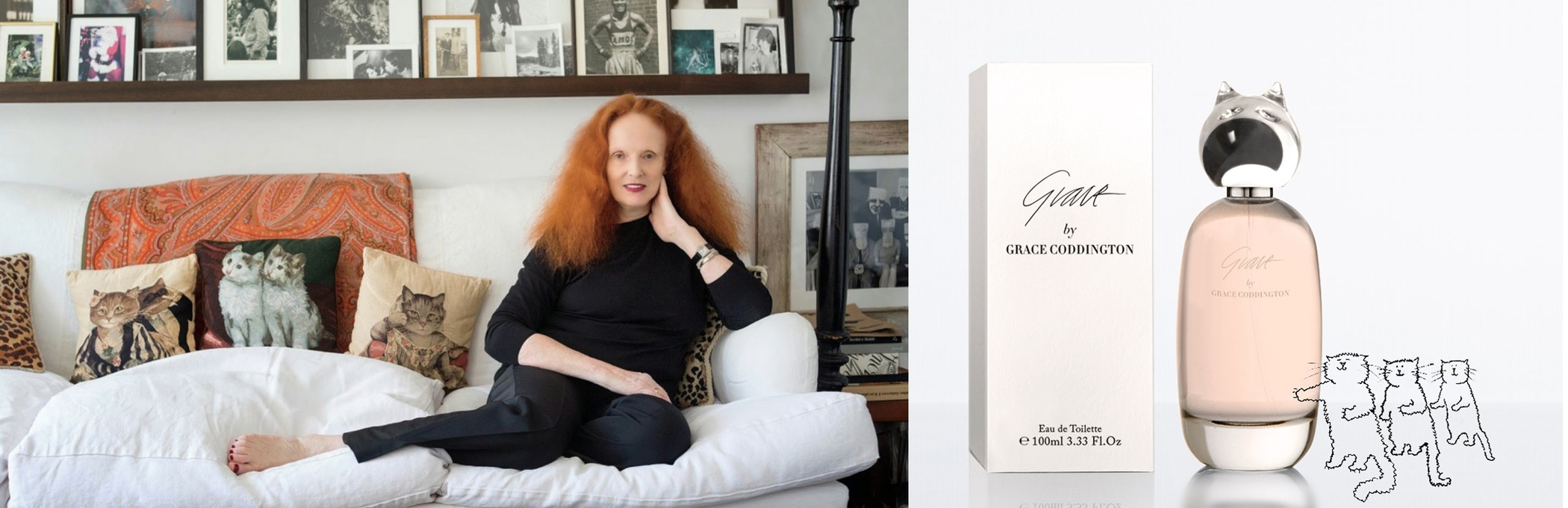 Grace Coddington at home (left) and her new fragrance (right)