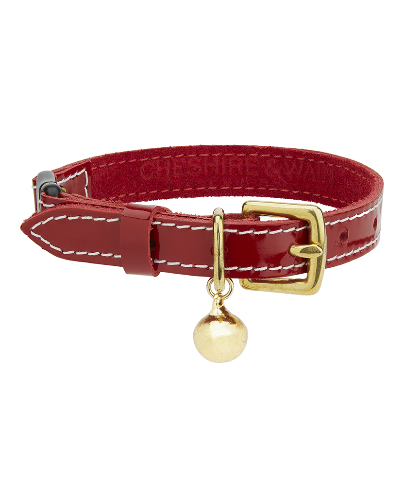 Cheshire and Wain Patent red Christmas Collar red leather cat collar.jpg