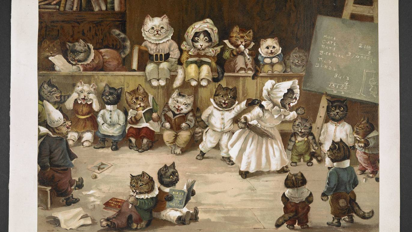 Ernest Nister 'Mrs Tabitha's Cats Academy' (1892). Image courtesy of the British Library