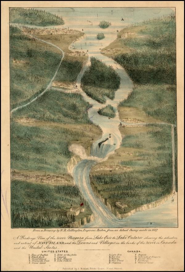 J. Robins, A Birdseye View of the River Niagara, 1837