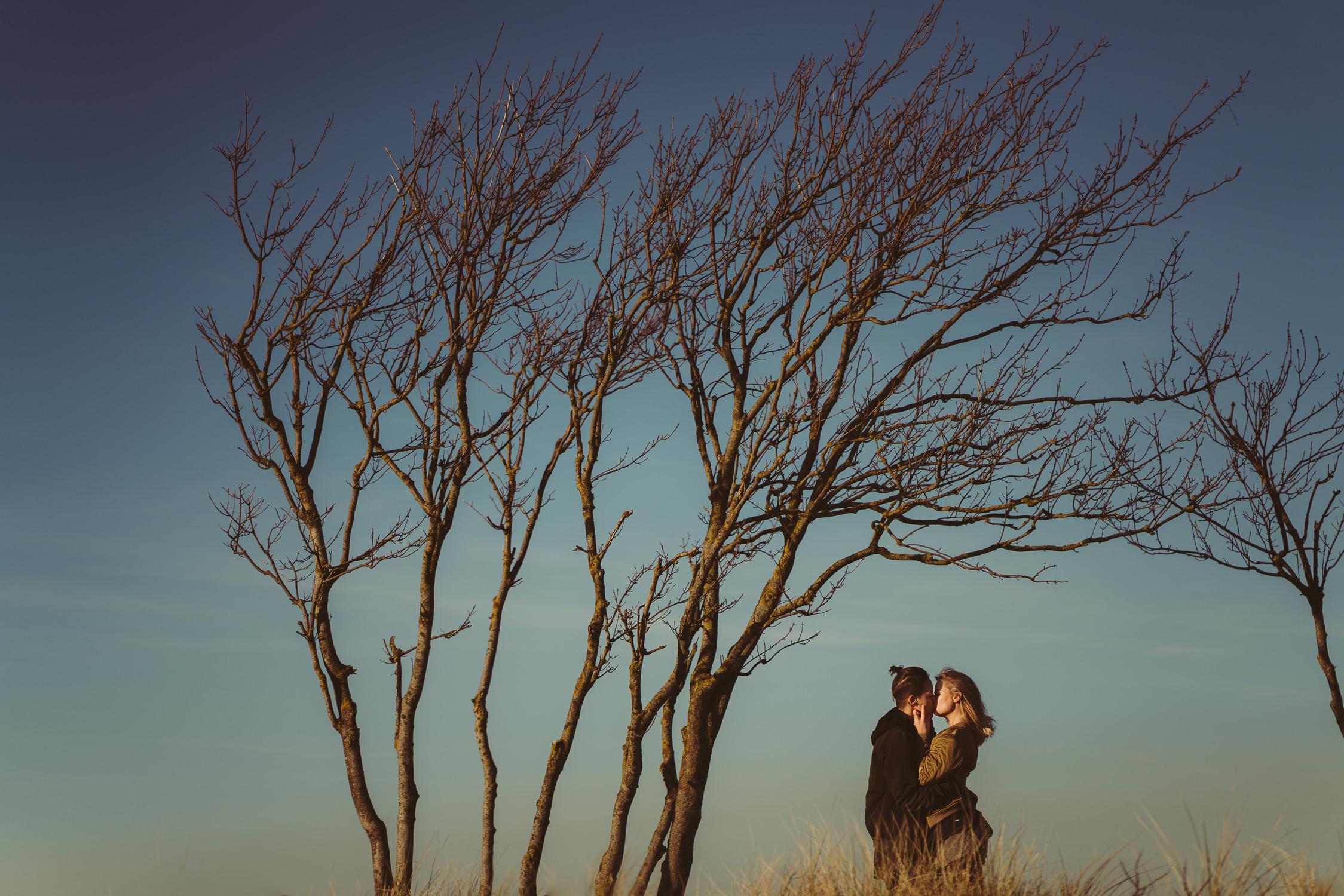 bloemendaal loveshoot under tree in landscape