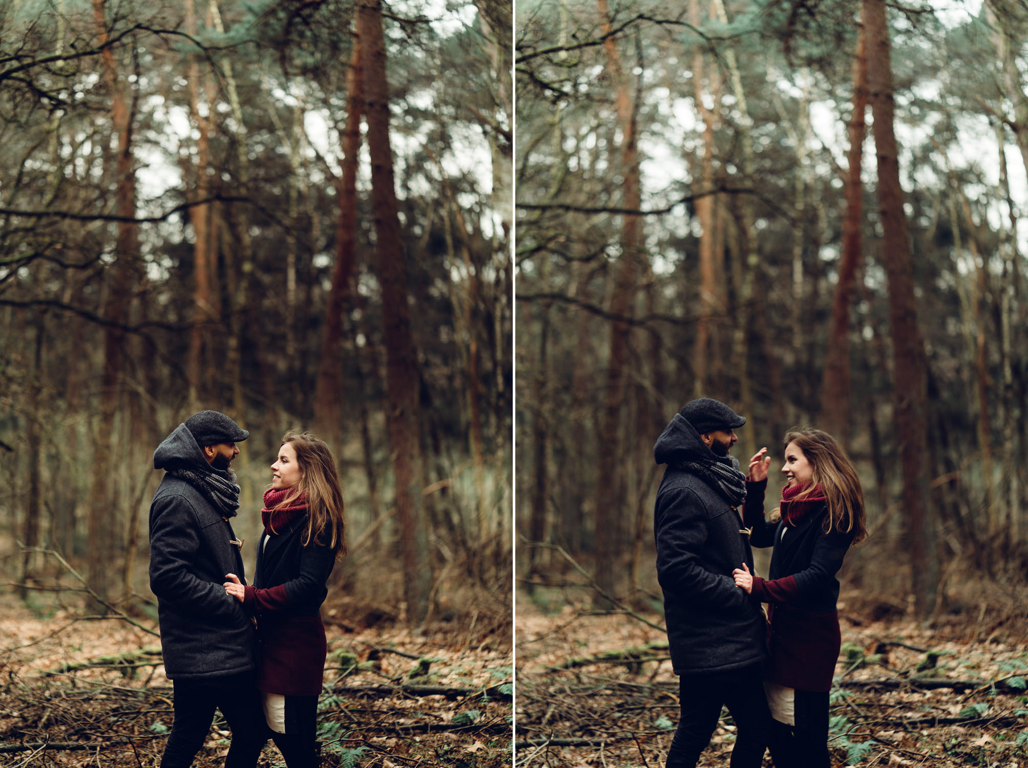 couple in forest amsterdam loveshoot by mark hadden wedding photographer